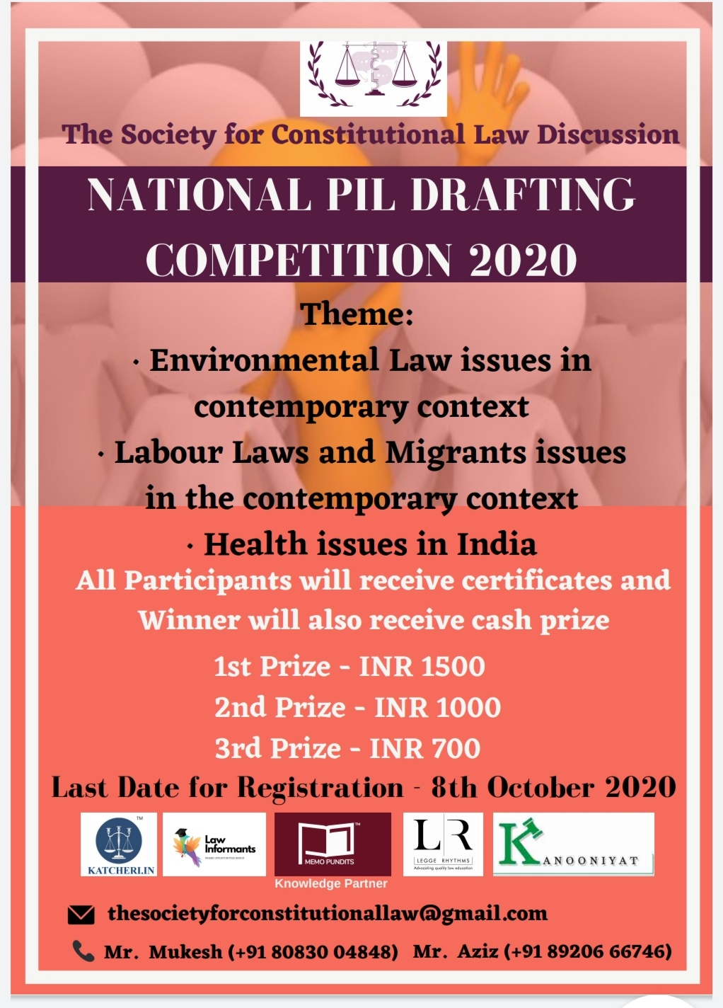 NATIONAL PIL DRAFTING COMPETITION AT THE SOCIETY FOR CONSTITUTIONAL LAW DISCUSSION (TSCLD) REGISTER BEFORE 8THOCT