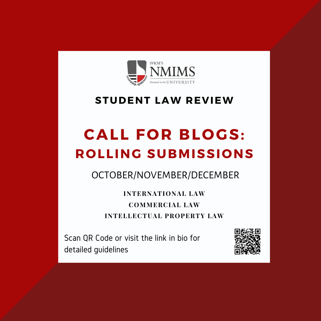 Call for Blog: NMIMS Law review: submit by December31.