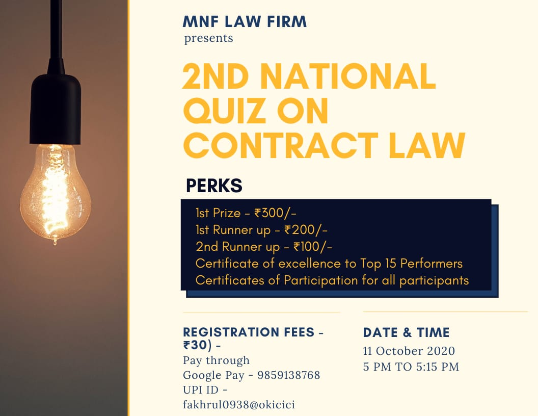 """M N F Law Firm Presents 2ndNational level Online Quiz Competition on """"ContractLaw"""""""