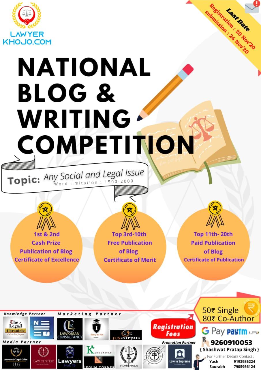 Lawyerkhojo.com Presents 1st National Blog &WritingCompetition