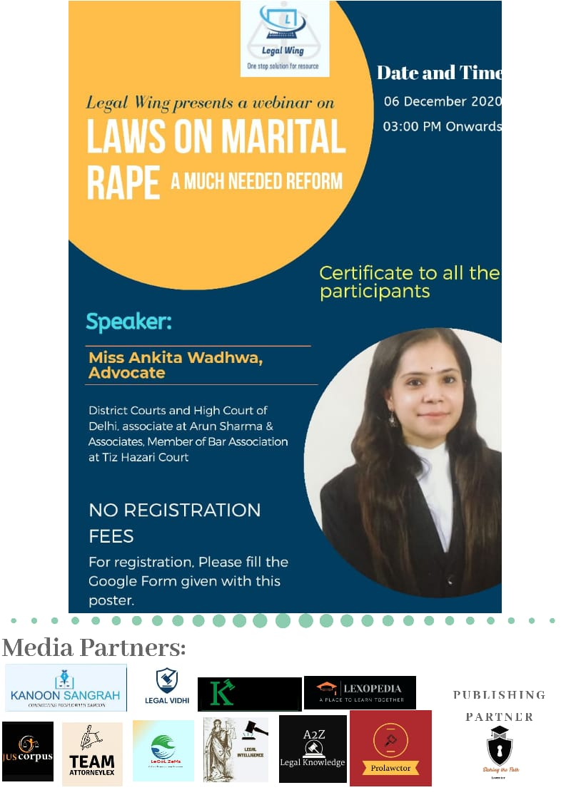 """WEBINAR ON """"LAWS ON MARITAL RAPES: A MUCH NEEDED REFORM"""" BY LEGALWING"""