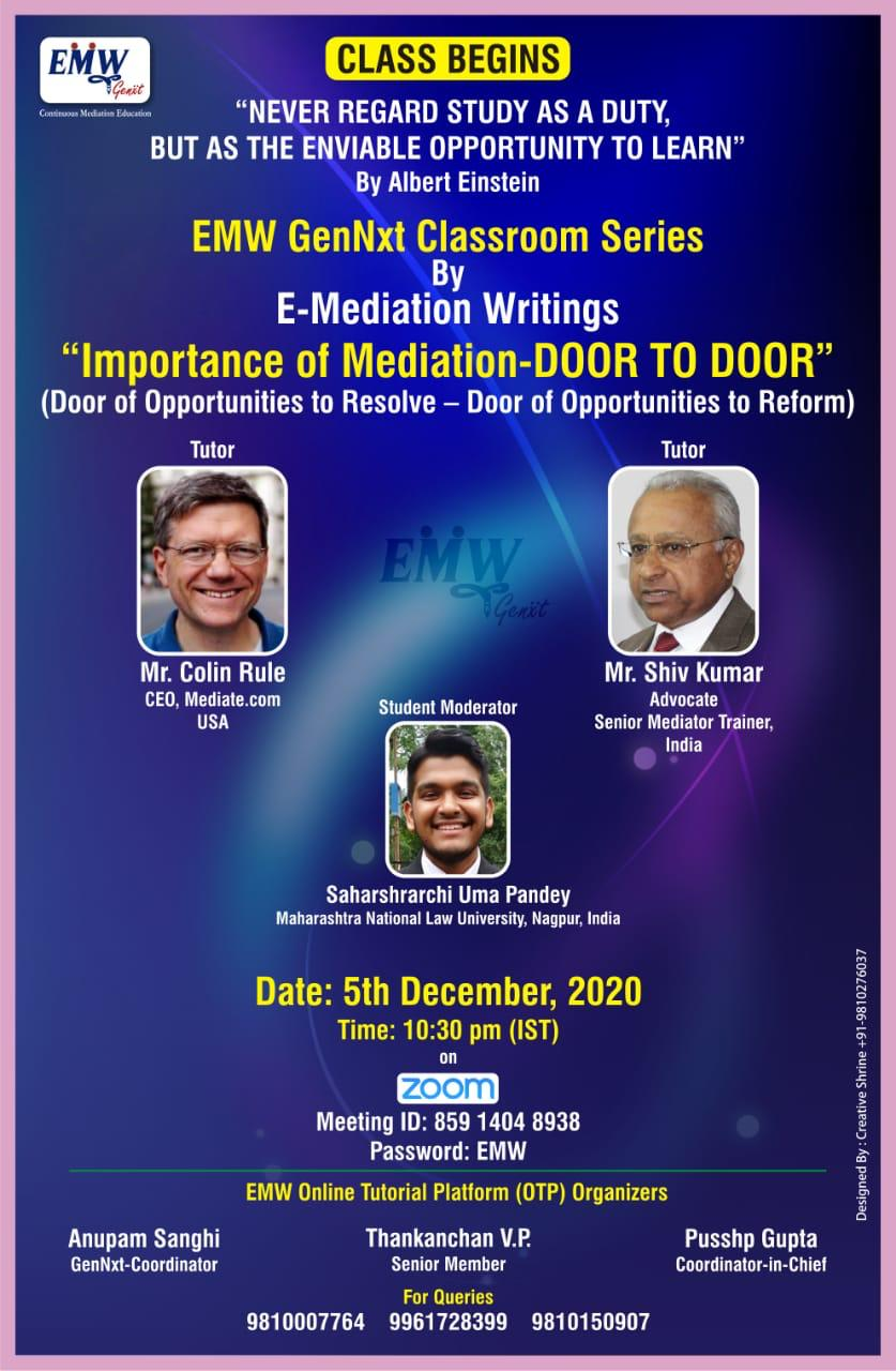 A TRAINING CAMP ON 'IMPORTANCE OF MEDIATION – DOOR TO DOOR' BYGenNxt