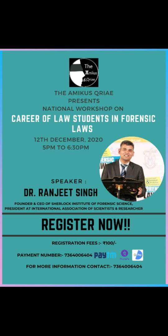NATIONAL WORKSHOP ON CAREER OF LAW STUDENTS IN FORENSIC LAWS BY THE AMIKUSQRIAE