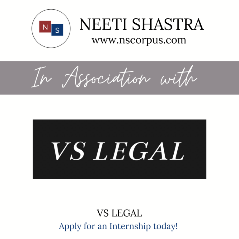 INTERNSHIP OPPORTUNITY WITH VS LEGAL ASSOCIATES BY NEETISHASTRA
