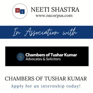 INTERNSHIP OPPORTUNITY WITH CHAMBERS OF TUSHAR KUMAR BY NEETISHASTRA