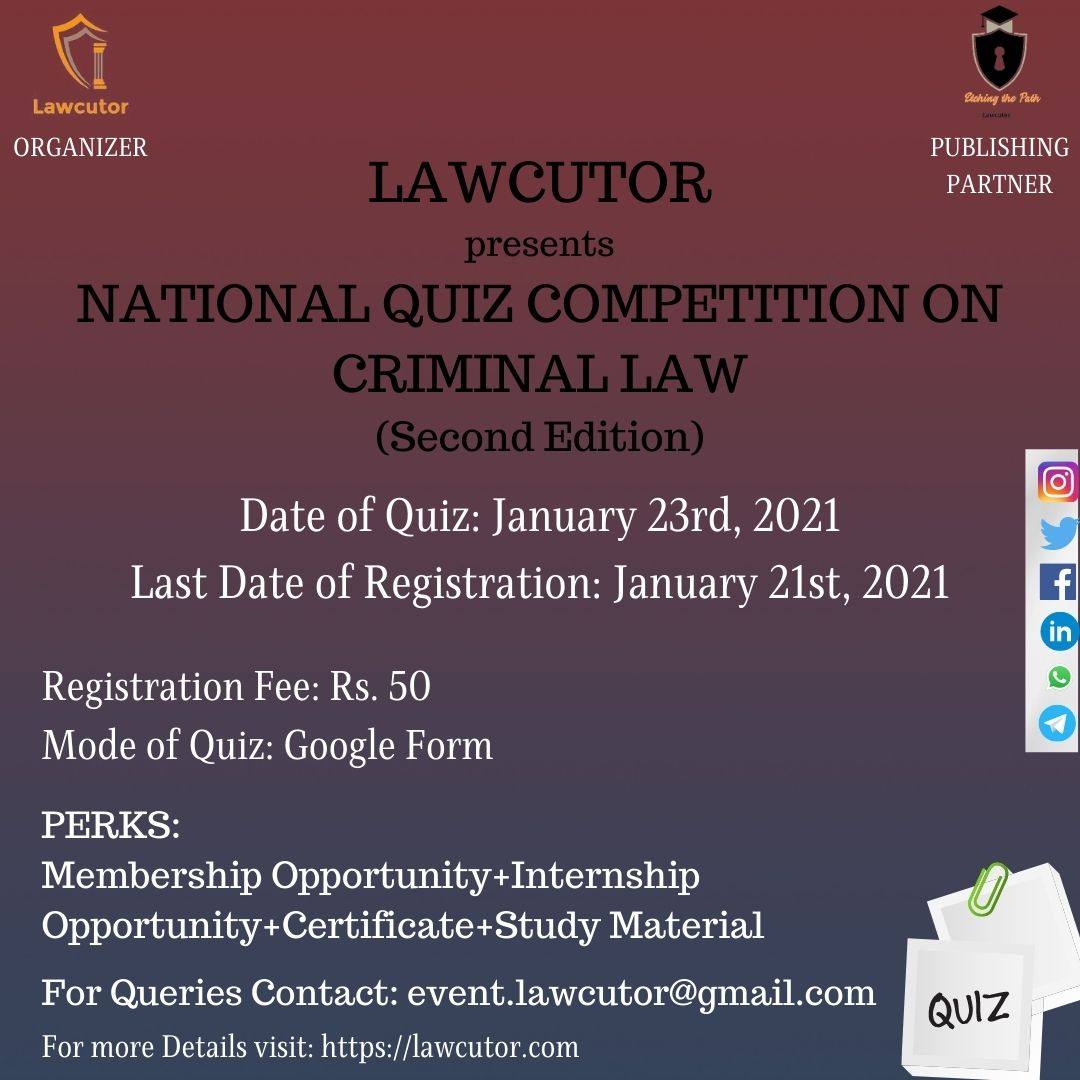 Second Edition of National Quiz Competition on Criminal Law byLawcutor