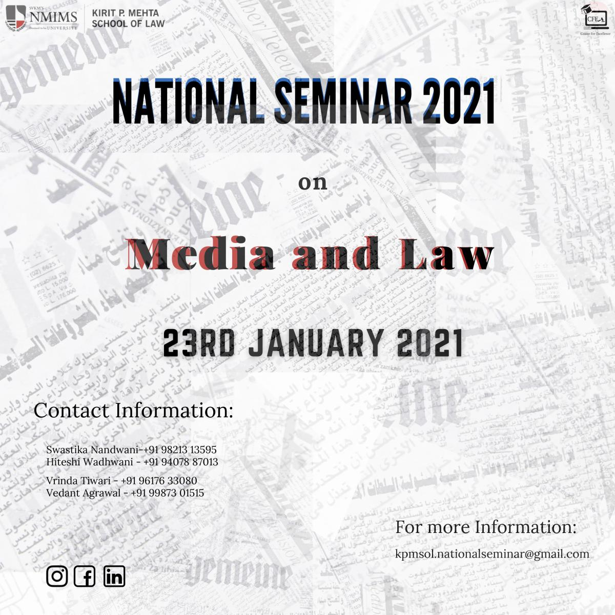 National Seminar 2021 by KiRit P Mehta School of Law, NMIMS
