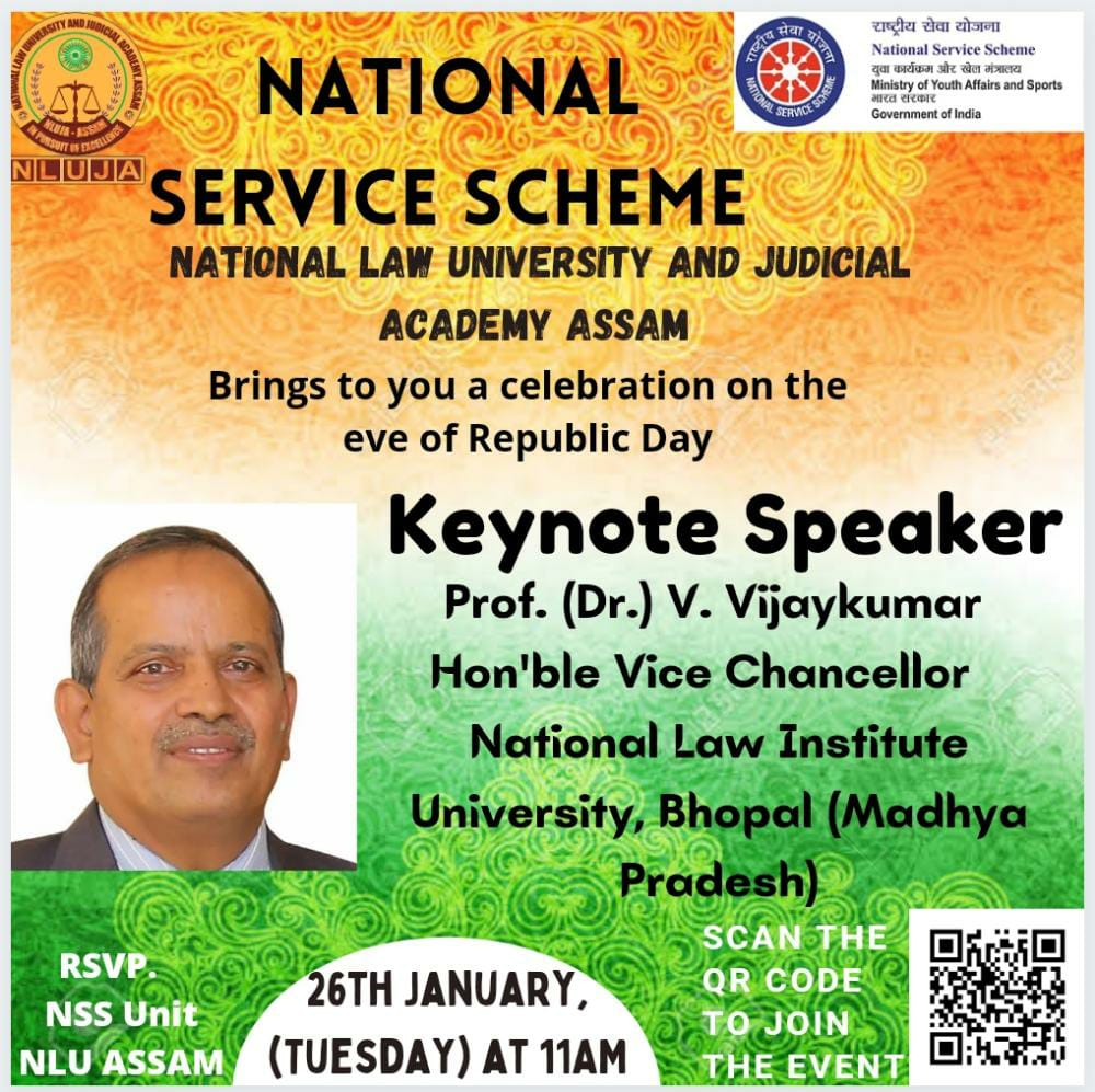 Republic Day 2021 with Hon'ble VC of NLIU as Keynote Speaker; hosted by NSS Unit of NLUAssam