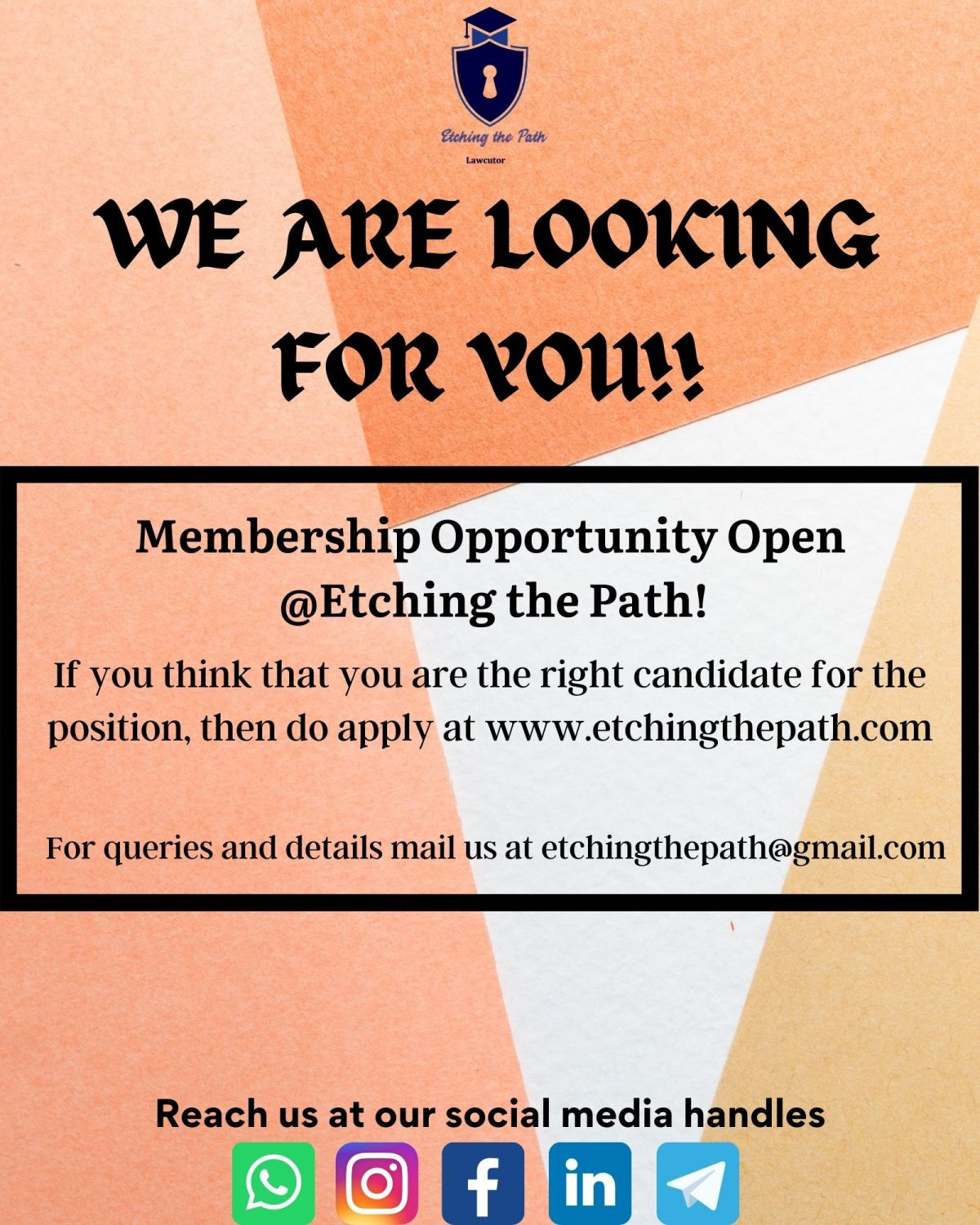 MEMBERSHIP OPPORTUNITY @ETCHING THEPATH