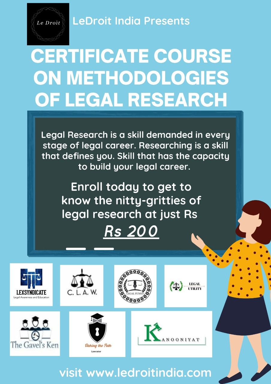 CERTIFICATE COURSE ON METHODOLOGIES OF LEGALRESEARCH