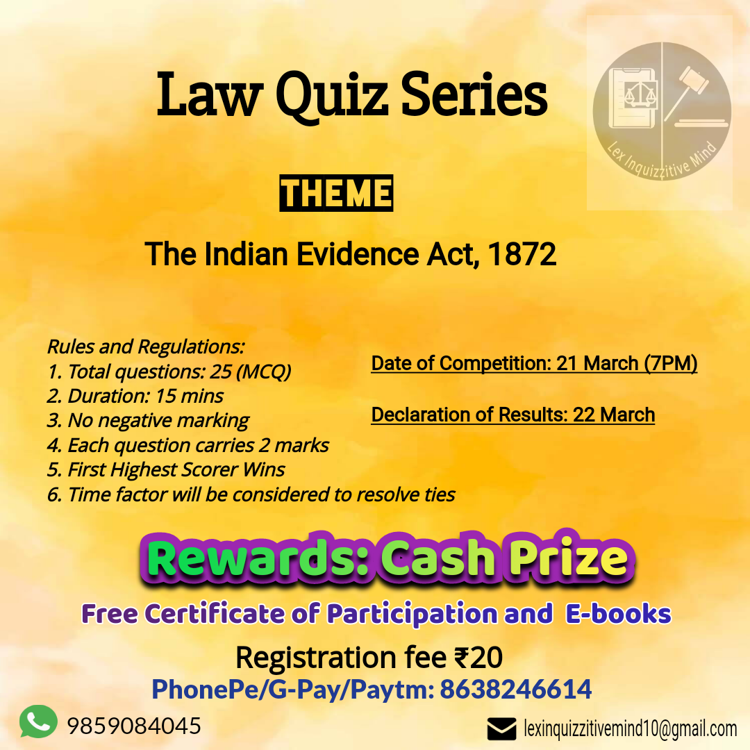 Law Quiz Series- The Indian Evidence Act, 1872 by Lex InquizzitiveMind