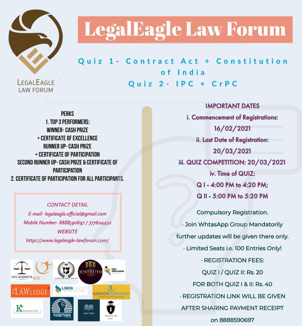 'QUIZ COMPETITION' on 'CONTRACT + CONSTITUTION' & 'IPC + CrPC' BY LEGALEAGLE LAW FORUM