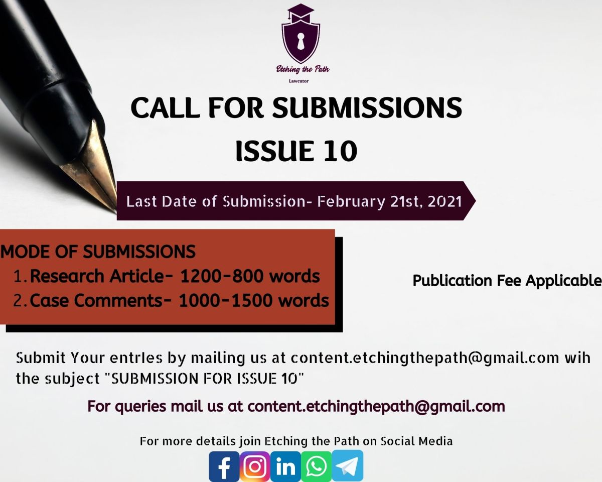 Call for Submissions-Etching the Path, Issue 10 [Submit by February 21st,2021]