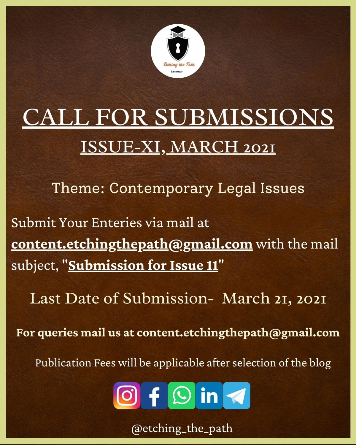 Call for Submissions-Etching the Path, Issue 11 [Submit by March 21st, 2021]