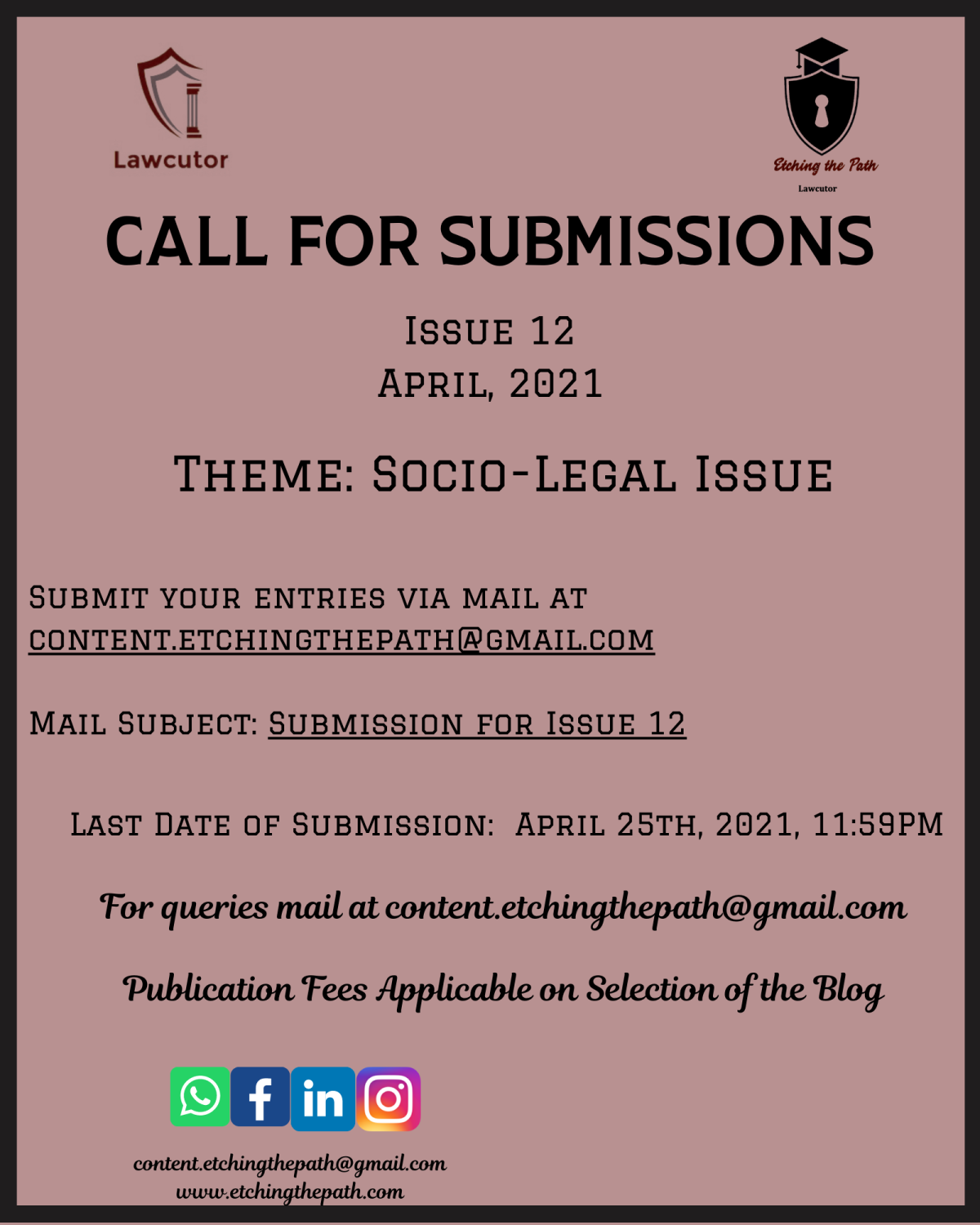 Call for Submissions- Etching The Path Issue 12 [Submit by: April 25th, 2021]