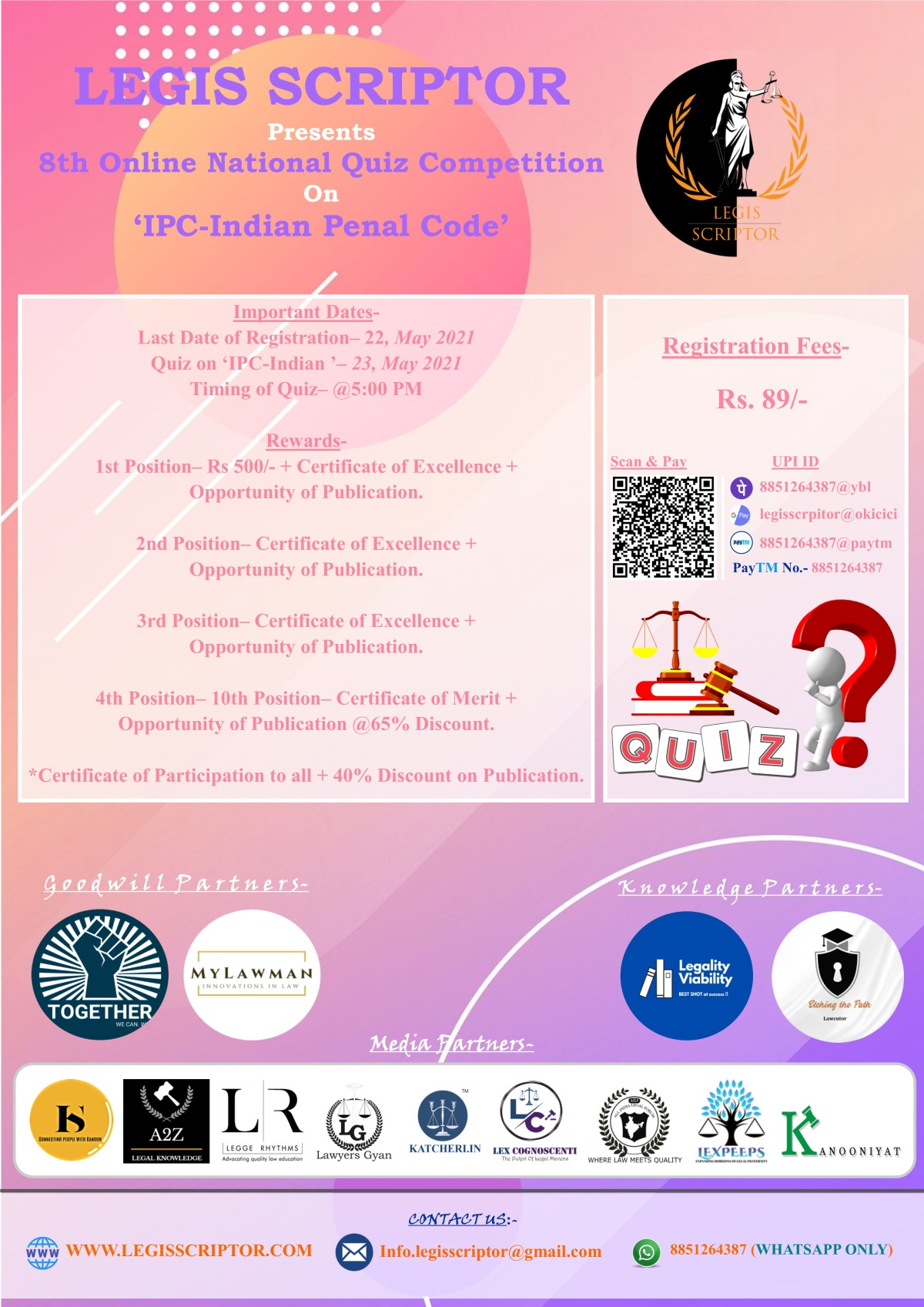 """8th Online National Quiz Competition on """"IPC- INDIAN PENAL CODE"""" [Last date to register: 22th May,2021]"""